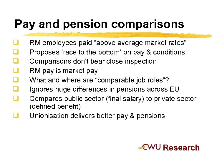 """Pay and pension comparisons q q q q RM employees paid """"above average market"""