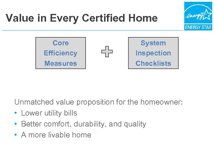 Value in Every Certified Home Core Efficiency Measures System Inspection Checklists Unmatched value proposition