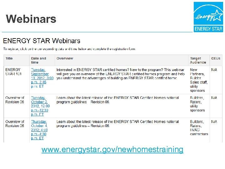 Webinars www. energystar. gov/newhomestraining