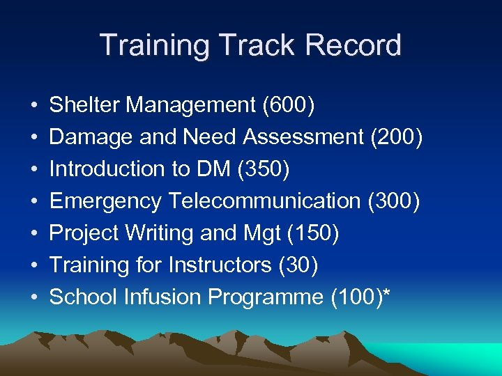 Training Track Record • • Shelter Management (600) Damage and Need Assessment (200) Introduction