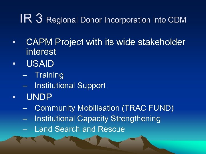 IR 3 Regional Donor Incorporation into CDM • • CAPM Project with its wide