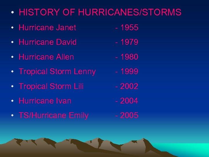 • HISTORY OF HURRICANES/STORMS • Hurricane Janet - 1955 • Hurricane David -