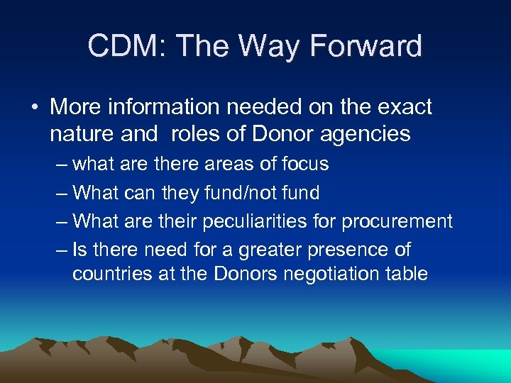 CDM: The Way Forward • More information needed on the exact nature and roles