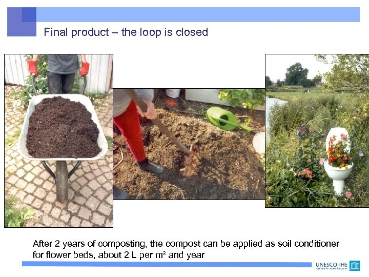Final product – the loop is closed After 2 years of composting, the compost