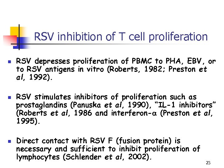 RSV inhibition of T cell proliferation n RSV depresses proliferation of PBMC to PHA,