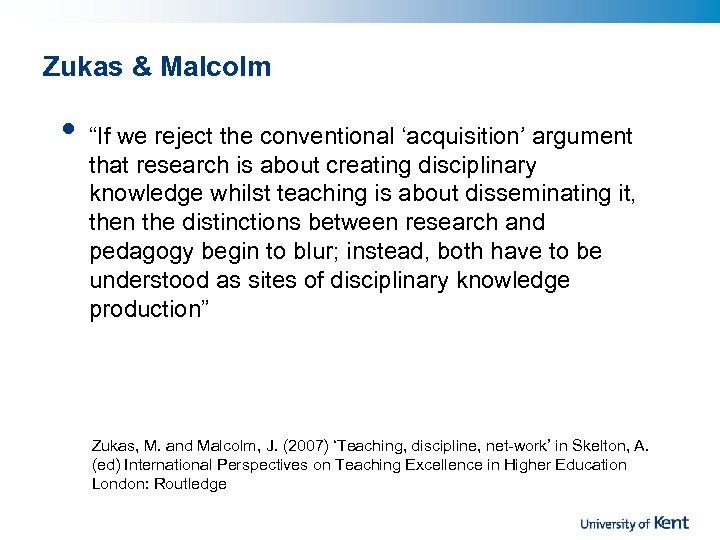 """Zukas & Malcolm • """"If we reject the conventional 'acquisition' argument that research is"""