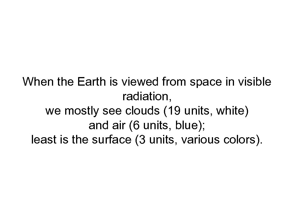 When the Earth is viewed from space in visible radiation, we mostly see clouds