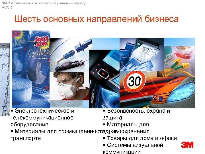 3 M™ Алюминиевый композитный усиленный провод ACCR Шесть основных направлений бизнеса § Электротехническое и