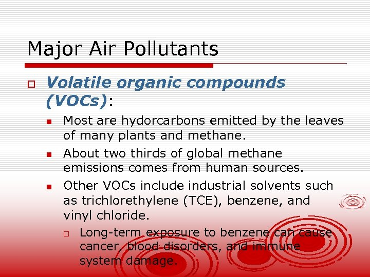 Major Air Pollutants o Volatile organic compounds (VOCs): n n n Most are hydorcarbons