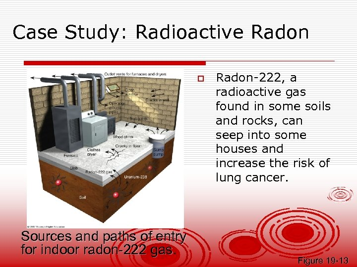 Case Study: Radioactive Radon o Sources and paths of entry for indoor radon-222 gas