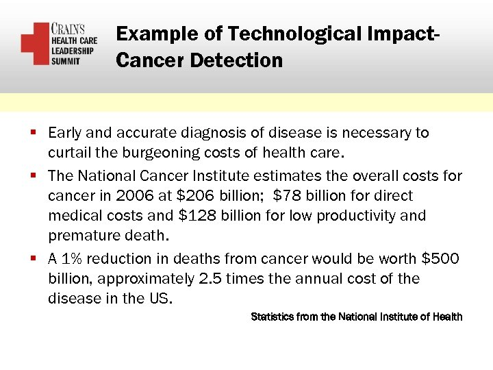 Example of Technological Impact. Cancer Detection § Early and accurate diagnosis of disease is