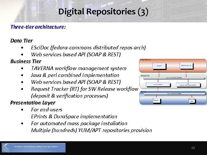 Digital Repositories (3) Three-tier architecture: Data Tier • ESci. Doc (fedora-commons distributed repos arch)