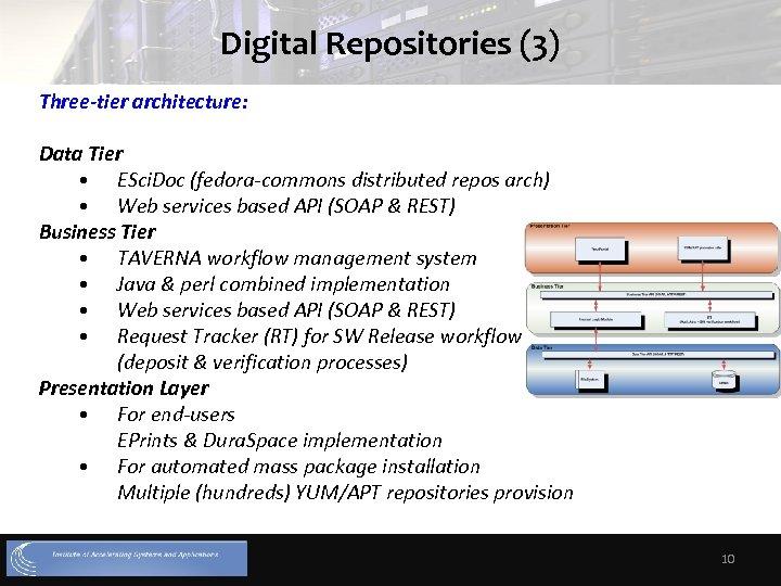 Digital Repositories (3) Three-tier architecture: Data Tier • ESci. Doc (fedora-commons distributed repos arch)