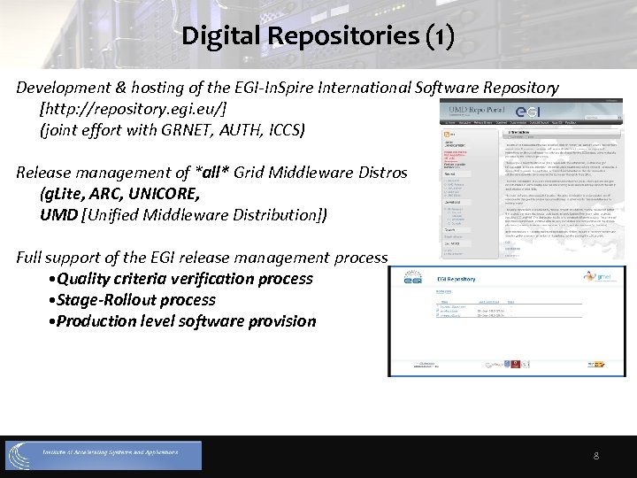 Digital Repositories (1) Development & hosting of the EGI-In. Spire International Software Repository [http: