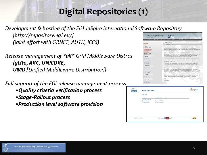 Digital Repositories (1) Development & hosting of the EGI-In. Spire International Software Repository [http: