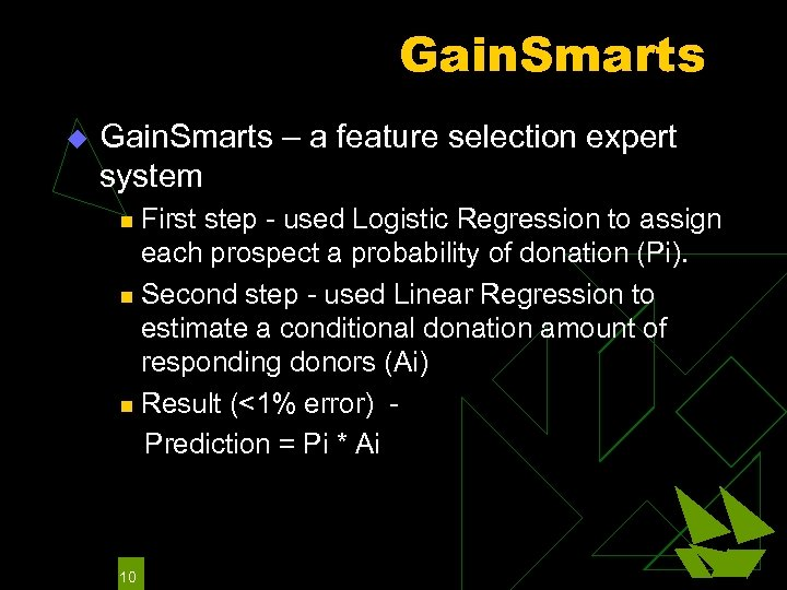 Gain. Smarts u Gain. Smarts – a feature selection expert system First step -