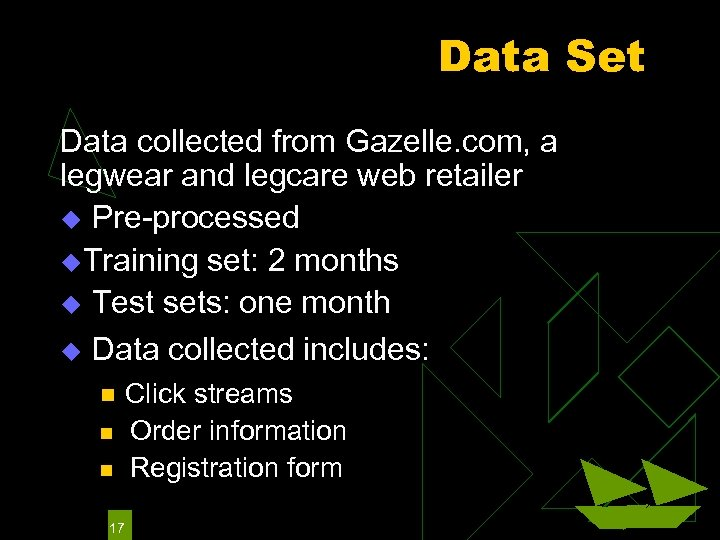 Data Set Data collected from Gazelle. com, a legwear and legcare web retailer u