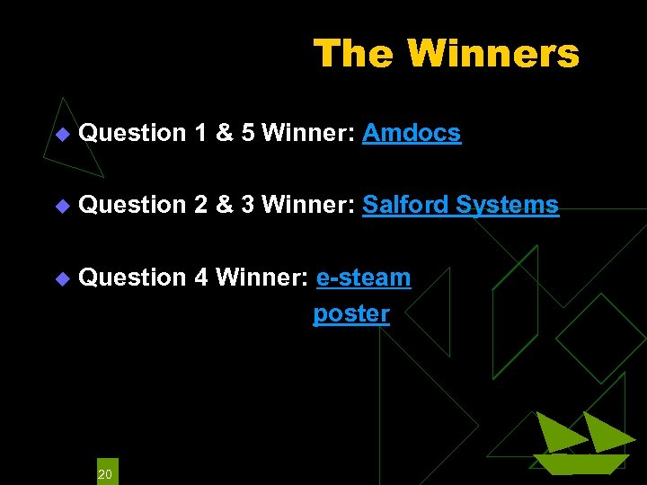 The Winners u Question 1 & 5 Winner: Amdocs u Question 2 & 3