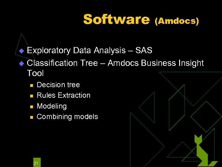 Software (Amdocs) Exploratory Data Analysis – SAS u Classification Tree – Amdocs Business Insight