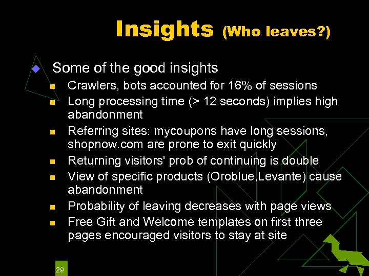 Insights u (Who leaves? ) Some of the good insights Crawlers, bots accounted for
