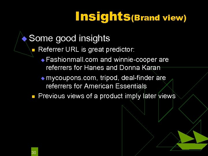 Insights(Brand view) u Some good insights n n 30 Referrer URL is great predictor: