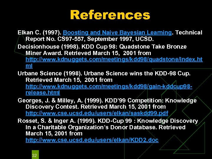 References Elkan C. (1997). Boosting and Naive Bayesian Learning. Technical Report No. CS 97