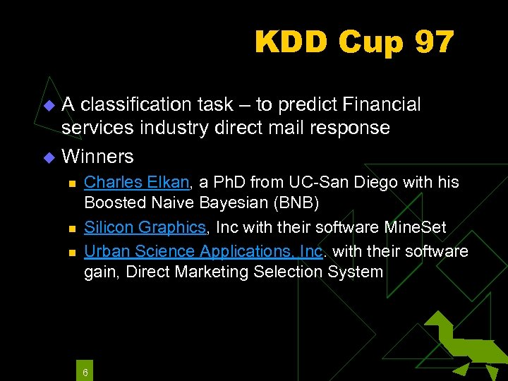 KDD Cup 97 A classification task – to predict Financial services industry direct mail