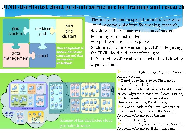 JINR distributed cloud grid-infrastructure for training and research Main components of modern distributed computing