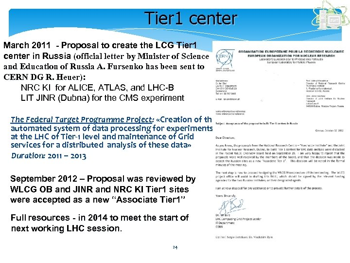 Tier 1 center March 2011 - Proposal to create the LCG Tier 1 center