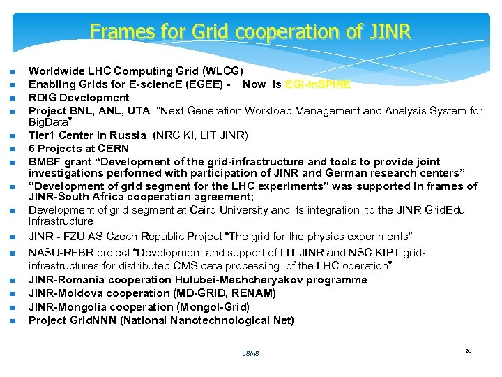Frames for Grid cooperation of JINR n n n n Worldwide LHC Computing Grid