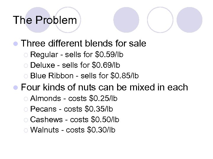 The Problem l Three different blends for sale ¡ Regular - sells for $0.