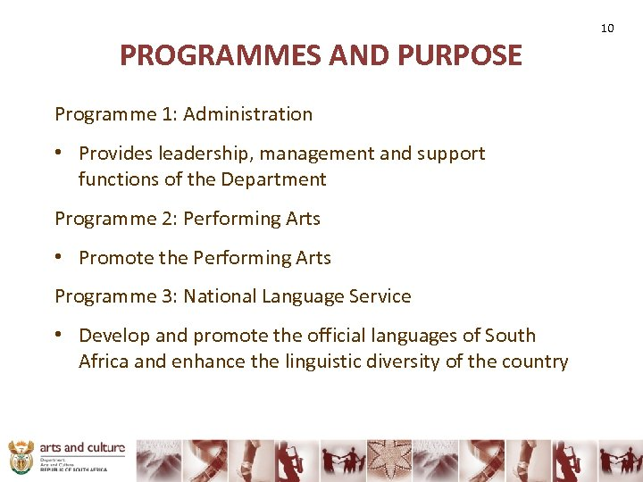 PROGRAMMES AND PURPOSE Programme 1: Administration • Provides leadership, management and support functions of
