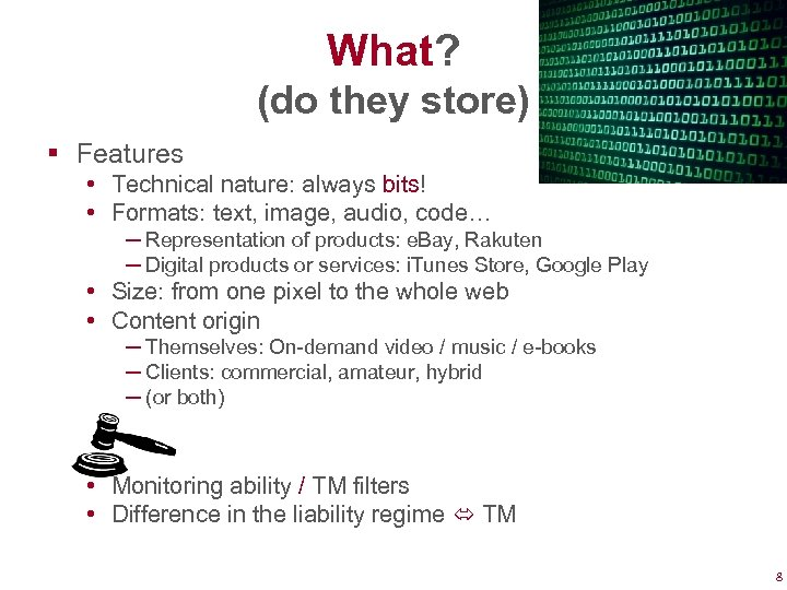 What? (do they store) § Features • Technical nature: always bits! • Formats: text,