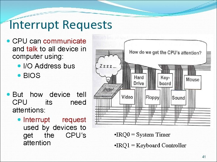 Interrupt Requests CPU can communicate and talk to all device in computer using: I/O