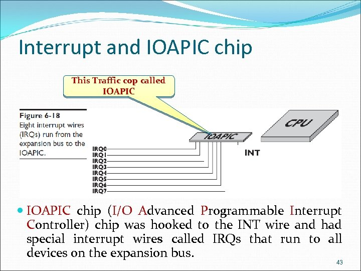 Interrupt and IOAPIC chip This Traffic cop called IOAPIC chip (I/O Advanced Programmable Interrupt