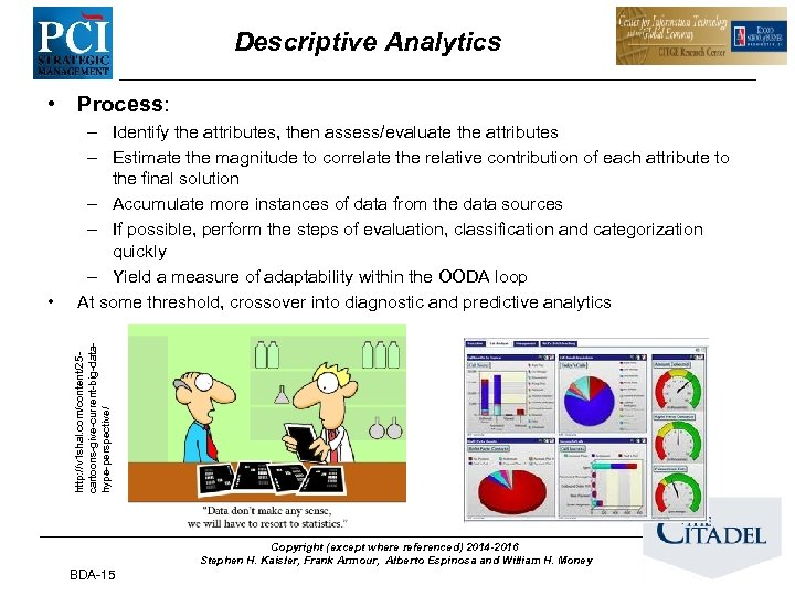 Descriptive Analytics • Process: http: //v 1 shal. com/content/25 cartoons-give-current-big-datahype-perspective/ • – Identify the