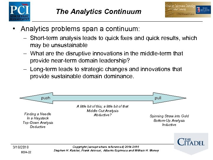 The Analytics Continuum • Analytics problems span a continuum: – Short-term analysis leads to