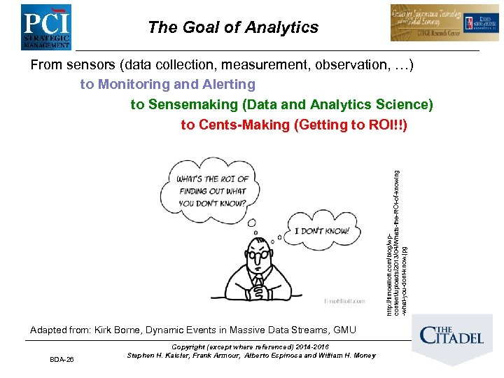 The Goal of Analytics http: //timoelliott. com/blog/wpcontent/uploads/2013/04/Whats-the-ROI-of-knowing -what-you-dont-know. jpg From sensors (data collection, measurement,