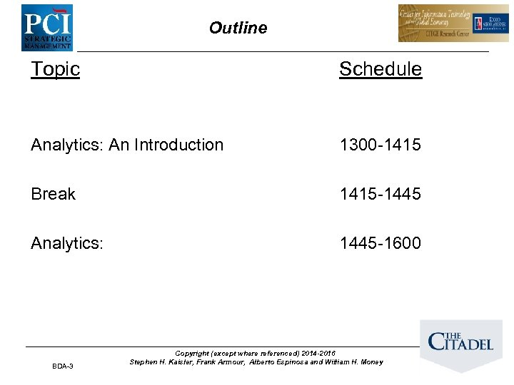 Outline Topic Schedule Analytics: An Introduction 1300 -1415 Break 1415 -1445 Analytics: 1445 -1600