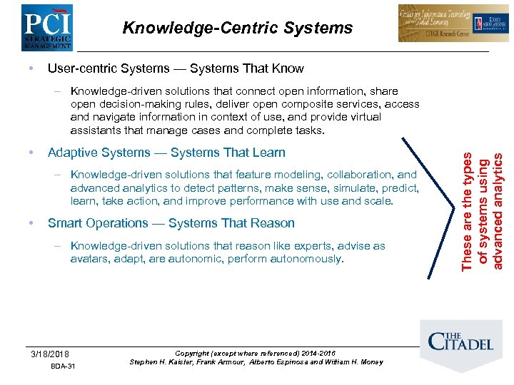 Knowledge-Centric Systems • User-centric Systems — Systems That Know • Adaptive Systems — Systems