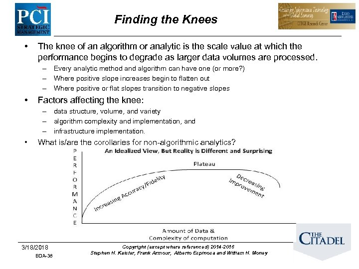 Finding the Knees • The knee of an algorithm or analytic is the scale