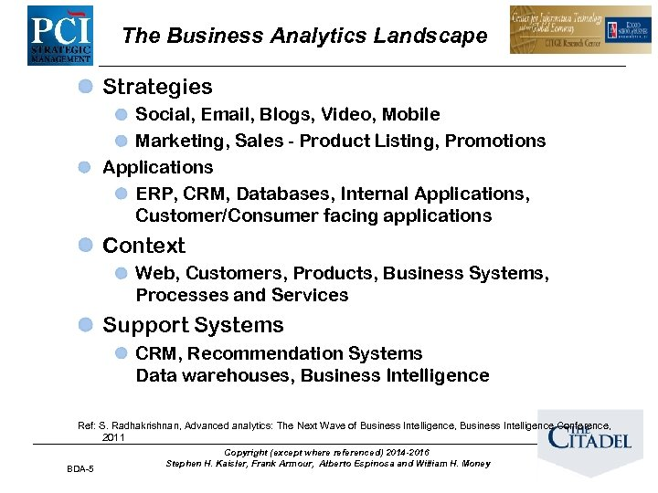 The Business Analytics Landscape Strategies Social, Email, Blogs, Video, Mobile Marketing, Sales - Product