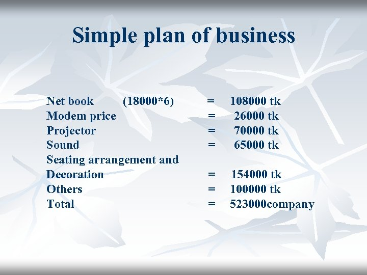 Simple plan of business Net book (18000*6) Modem price Projector Sound Seating arrangement and