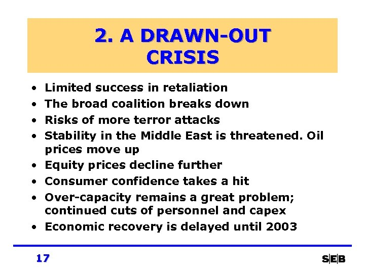 2. A DRAWN-OUT CRISIS • • Limited success in retaliation The broad coalition breaks