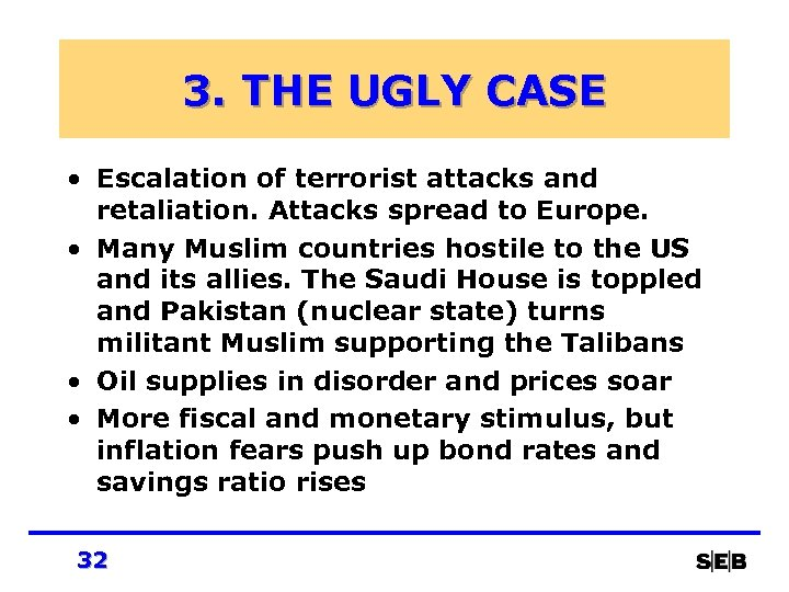 3. THE UGLY CASE • Escalation of terrorist attacks and retaliation. Attacks spread to