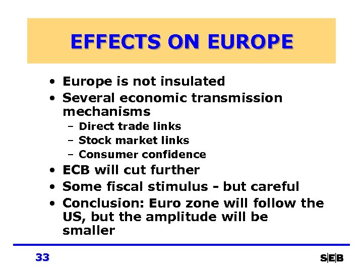 EFFECTS ON EUROPE • Europe is not insulated • Several economic transmission mechanisms –