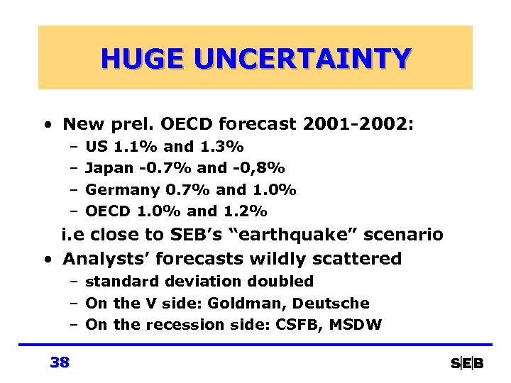 HUGE UNCERTAINTY • New prel. OECD forecast 2001 -2002: – – US 1. 1%