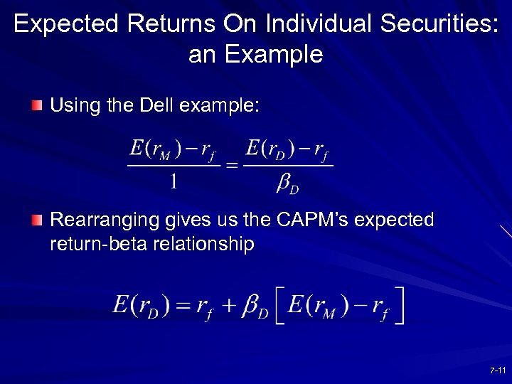 Expected Returns On Individual Securities: an Example Using the Dell example: Rearranging gives us
