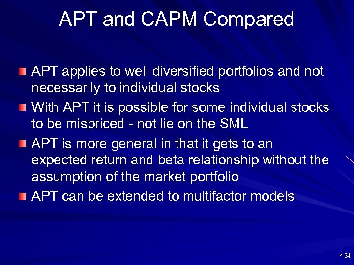 APT and CAPM Compared APT applies to well diversified portfolios and not necessarily to