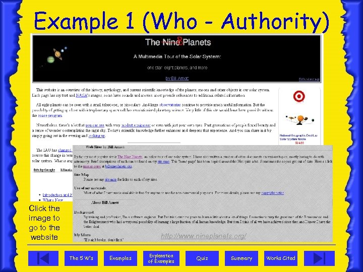 Example 1 (Who - Authority) Click the image to go to the website http: